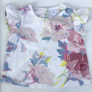 Gap Toddler Girl Linen Floral Ruffle Sleeve Top